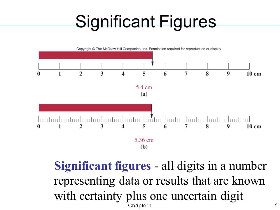 Chapter 1 7 Significant Figures Significant figures - all digits in a number representing data or results that are known with certainty plus one uncer