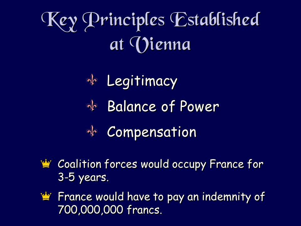 Key Principles Established at Vienna VLegitimacy VBalance of Power VCompensation VLegitimacy VBalance of Power VCompensation eCoalition forces would occupy France for 3-5 years.