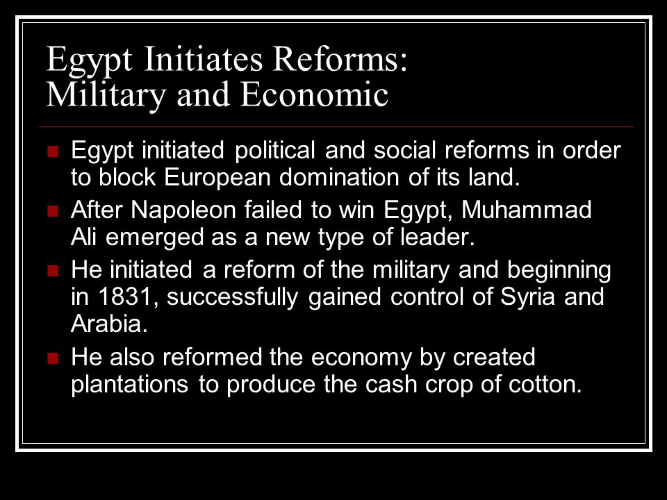 Egypt Initiates Reforms: Military and Economic Egypt initiated political and social reforms in order to block European domination of its land. After N