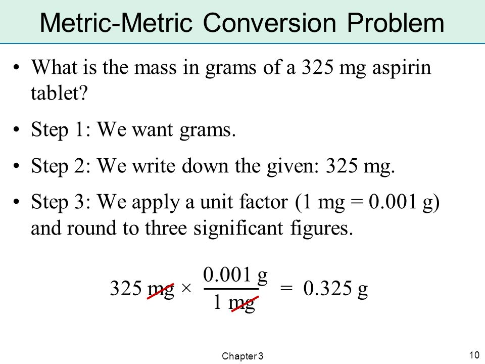 Chapter 3 10 Metric-Metric Conversion Problem What is the mass in grams of a 325 mg aspirin tablet? Step 1: We want grams. Step 2: We write down the g