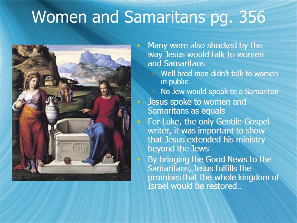 Women and Samaritans pg.