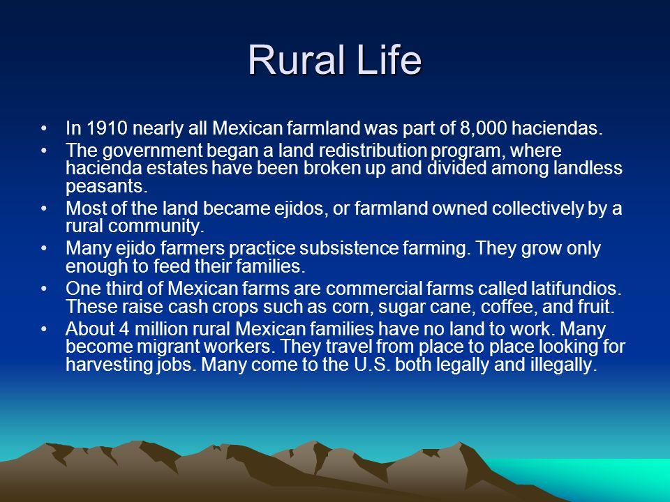 Rural Life In 1910 nearly all Mexican farmland was part of 8,000 haciendas. The government began a land redistribution program, where hacienda estates