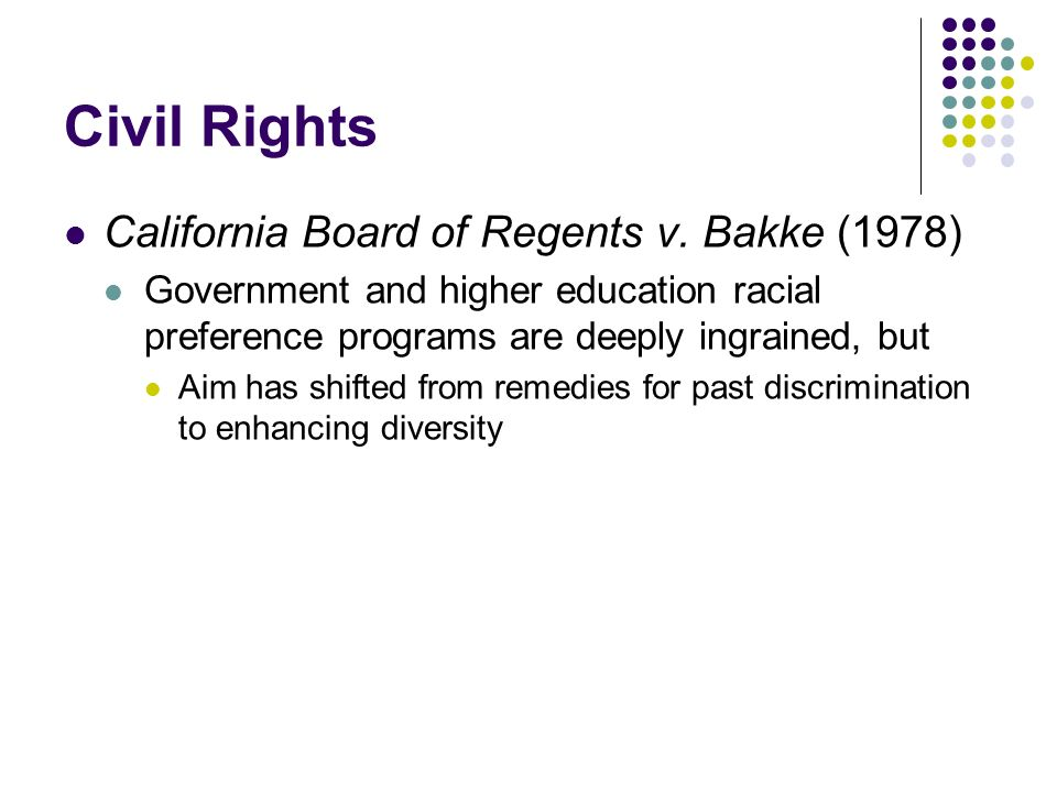 Civil Rights California Board of Regents v. Bakke (1978) Government and higher education racial preference programs are deeply ingrained, but Aim has
