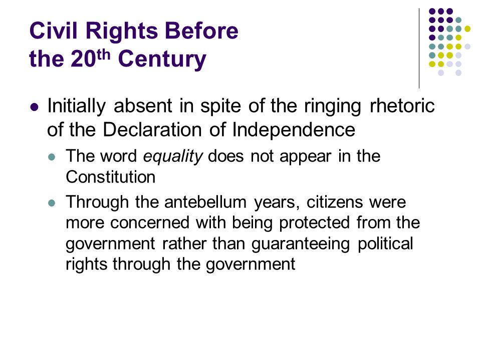 Civil Rights Todays Legal Standards Main doctrine is very clear Any use of race in law or government regulation swill trigger strict scrutiny Government can defend its acts under strict scrutiny only if it can produce a compelling governmental interest for which the act in question is a necessary means Few laws survive the above challenge