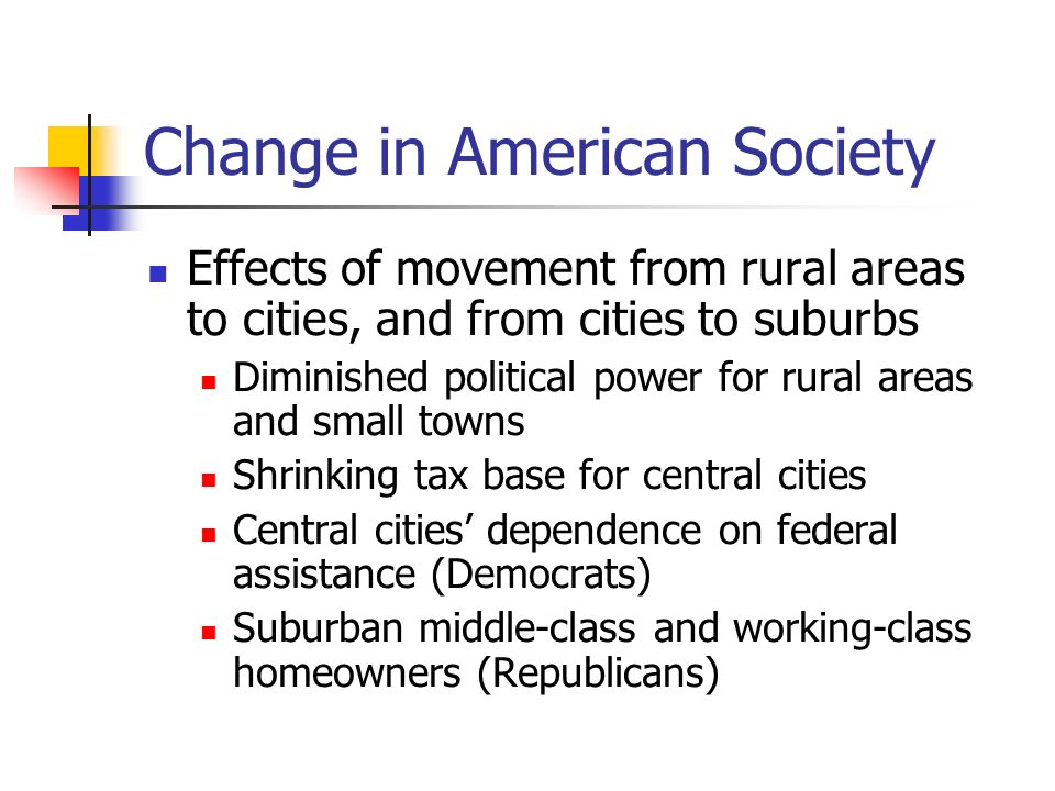 Change in American Society Effects of movement from rural areas to cities, and from cities to suburbs Diminished political power for rural areas and s