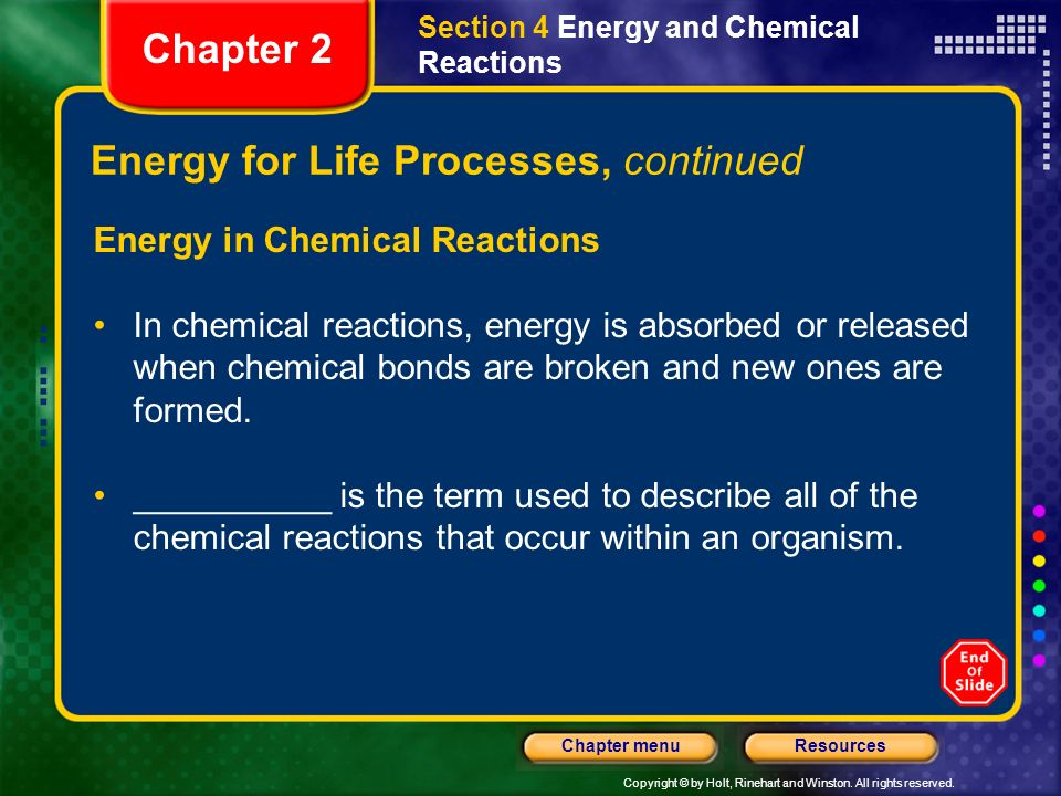 Copyright © by Holt, Rinehart and Winston. All rights reserved. ResourcesChapter menu Energy for Life Processes, continued Energy in Chemical Reaction