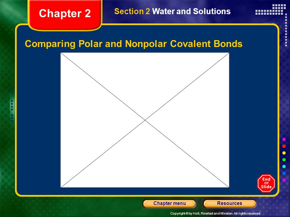 Copyright © by Holt, Rinehart and Winston. All rights reserved. ResourcesChapter menu Aqueous Solutions, continued Polarity Nonpolar molecules do ___