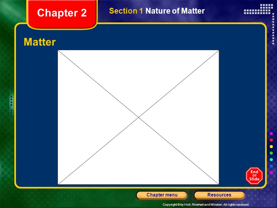 Copyright © by Holt, Rinehart and Winston. All rights reserved. ResourcesChapter menu Section 1 Nature of Matter Objectives Differentiate between atom