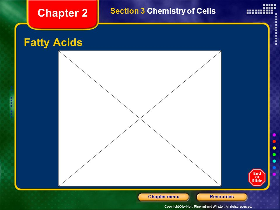 Copyright © by Holt, Rinehart and Winston. All rights reserved. ResourcesChapter menu Saturated and Unsaturated Fatty Acids Section 3 Chemistry of Cel