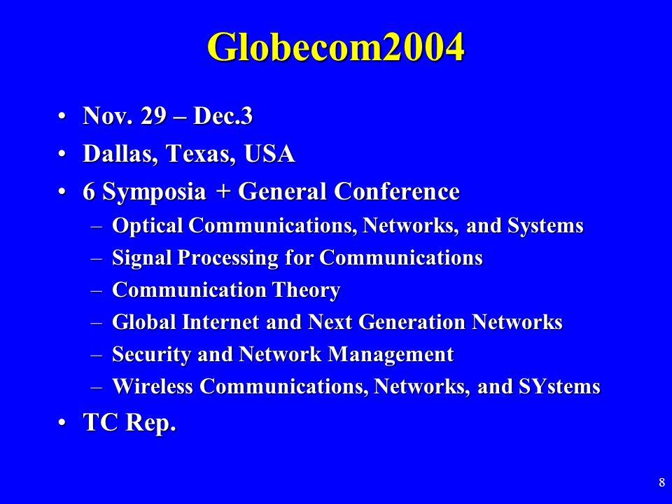 8 Globecom2004 Nov. 29 – Dec.3Nov.