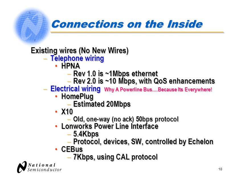 18 Connections on the Inside Existing wires (No New Wires) – Telephone wiring HPNA HPNA – Rev 1.0 is ~1Mbps ethernet – Rev 2.0 is ~10 Mbps, with QoS e
