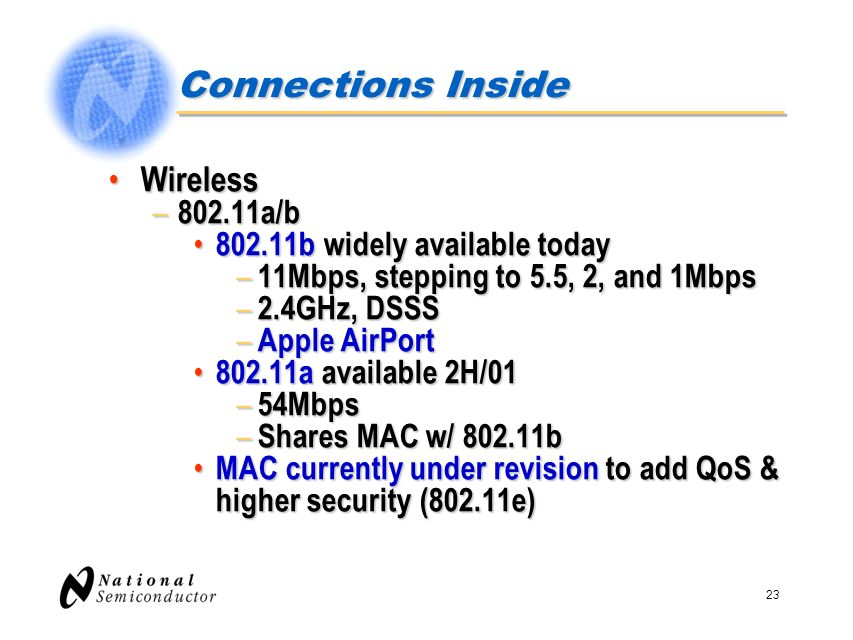 23 Connections Inside Wireless Wireless – 802.11a/b 802.11b widely available today 802.11b widely available today – 11Mbps, stepping to 5.5, 2, and 1M