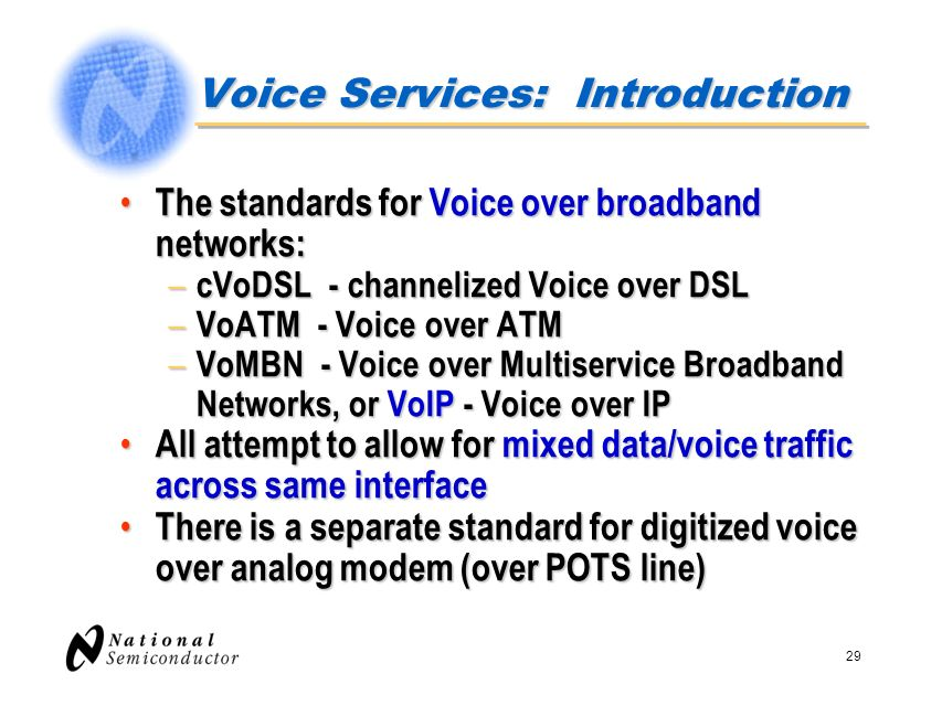 29 Voice Services: Introduction The standards for Voice over broadband networks: The standards for Voice over broadband networks: – cVoDSL - channeliz