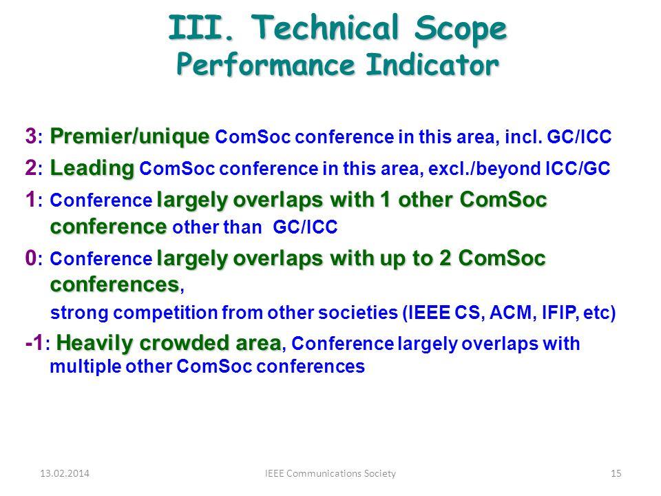 III. Technical Scope Performance Indicator Premier/unique 3 : Premier/unique ComSoc conference in this area, incl. GC/ICC Leading 2 : Leading ComSoc c