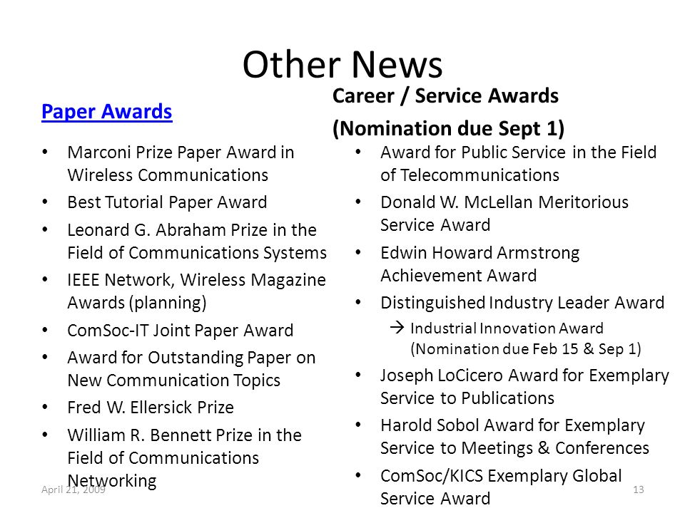 Other News Paper Awards Marconi Prize Paper Award in Wireless Communications Best Tutorial Paper Award Leonard G.