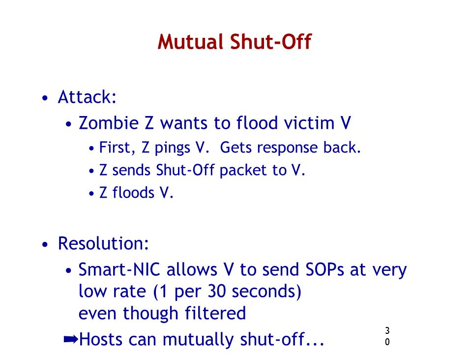 30 Mutual Shut-Off Attack: Zombie Z wants to flood victim V First, Z pings V.