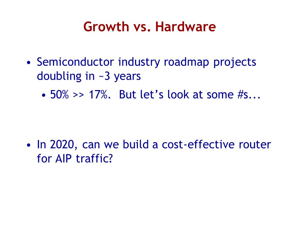 Growth vs. Hardware Semiconductor industry roadmap projects doubling in ~3 years 50% >> 17%.