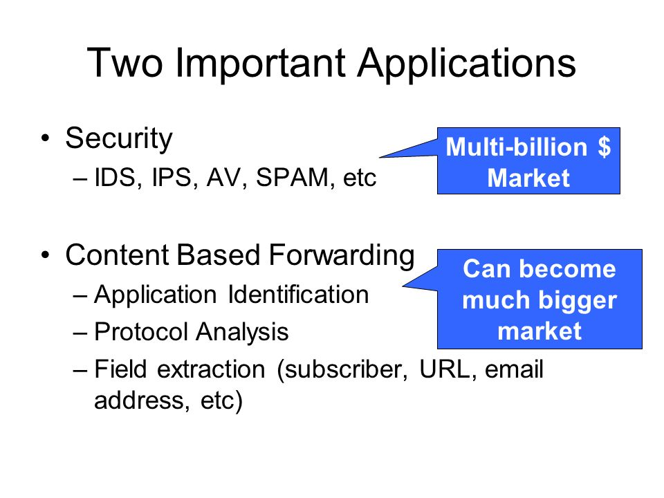 Two Important Applications Security –IDS, IPS, AV, SPAM, etc Content Based Forwarding –Application Identification –Protocol Analysis –Field extraction (subscriber, URL, email address, etc) Multi-billion $ Market Can become much bigger market