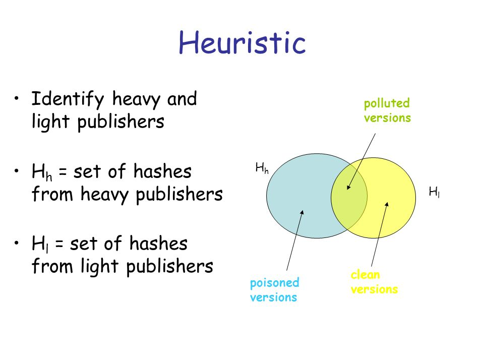 Heuristic Identify heavy and light publishers H h = set of hashes from heavy publishers H l = set of hashes from light publishers polluted versions clean versions poisoned versions HhHh HlHl