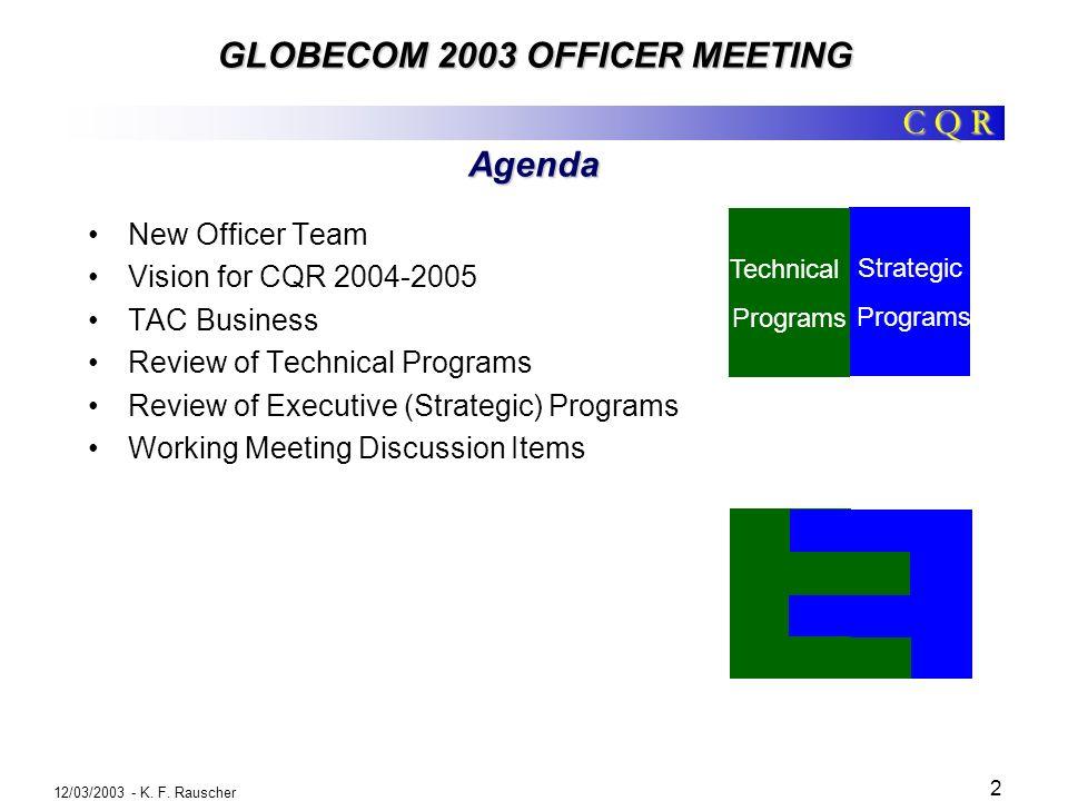 GLOBECOM 2003 OFFICER MEETING 12/03/2003 - K. F.