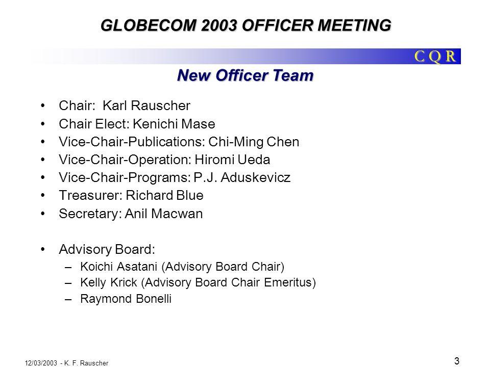 C Q R GLOBECOM 2003 OFFICER MEETING 12/03/2003 - K.