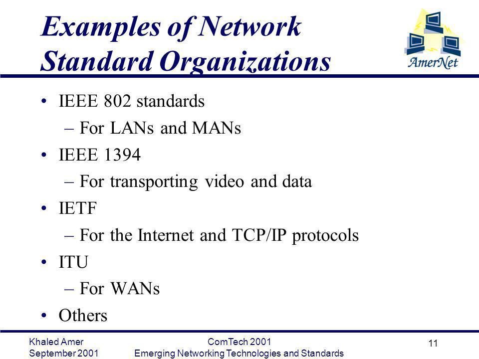 Khaled Amer September 2001 ComTech 2001 Emerging Networking Technologies and Standards 11 Examples of Network Standard Organizations IEEE 802 standard