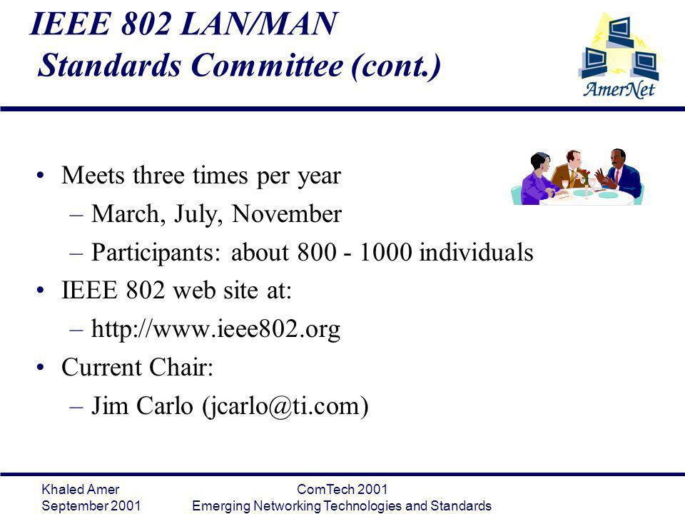 Khaled Amer September 2001 ComTech 2001 Emerging Networking Technologies and Standards IEEE 802 LAN/MAN Standards Committee (cont.) Meets three times