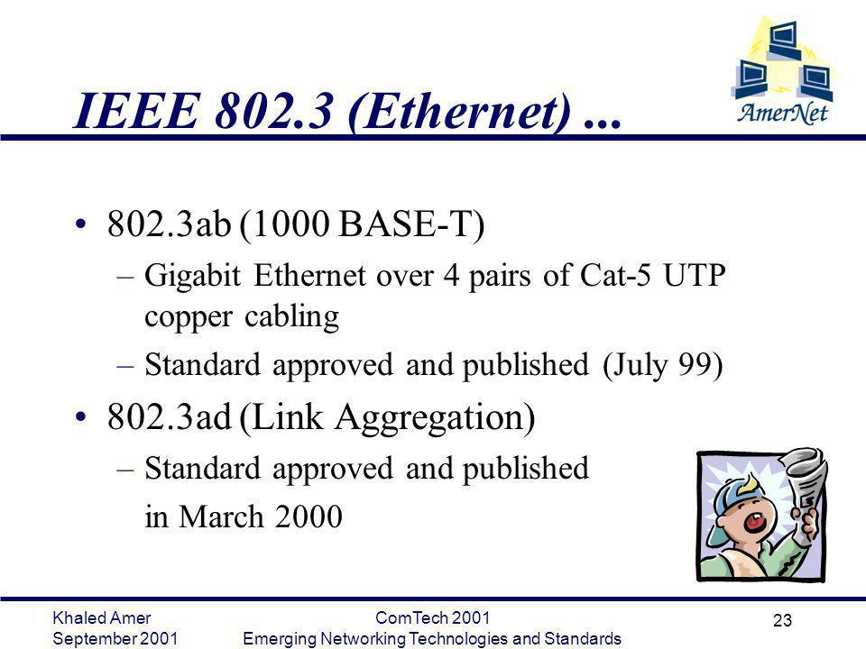 Khaled Amer September 2001 ComTech 2001 Emerging Networking Technologies and Standards 23 IEEE 802.3 (Ethernet)... 802.3ab (1000 BASE-T) –Gigabit Ethe