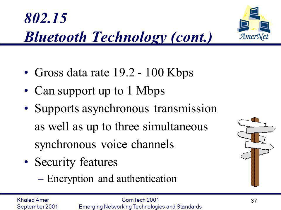 Khaled Amer September 2001 ComTech 2001 Emerging Networking Technologies and Standards 37 802.15 Bluetooth Technology (cont.) Gross data rate 19.2 - 1