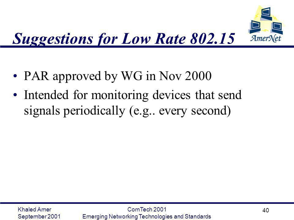 Khaled Amer September 2001 ComTech 2001 Emerging Networking Technologies and Standards 40 Suggestions for Low Rate 802.15 PAR approved by WG in Nov 20