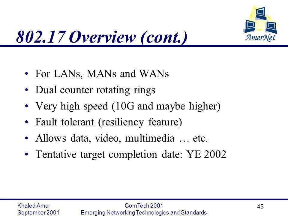 Khaled Amer September 2001 ComTech 2001 Emerging Networking Technologies and Standards 45 802.17 Overview (cont.) For LANs, MANs and WANs Dual counter