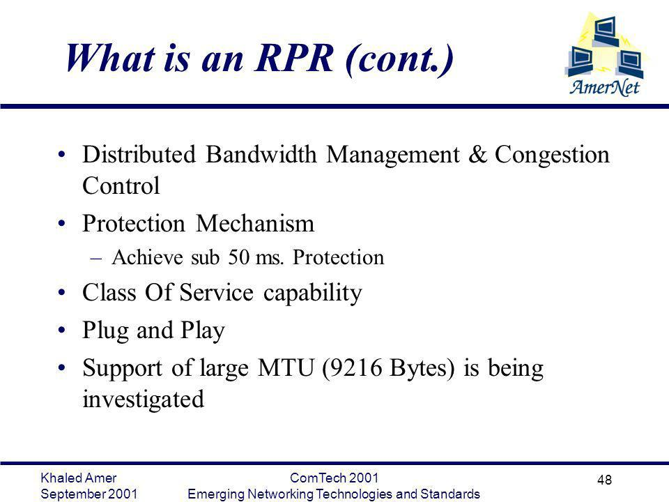 Khaled Amer September 2001 ComTech 2001 Emerging Networking Technologies and Standards 48 What is an RPR (cont.) Distributed Bandwidth Management & Co