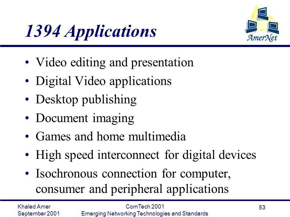 Khaled Amer September 2001 ComTech 2001 Emerging Networking Technologies and Standards 53 1394 Applications Video editing and presentation Digital Vid