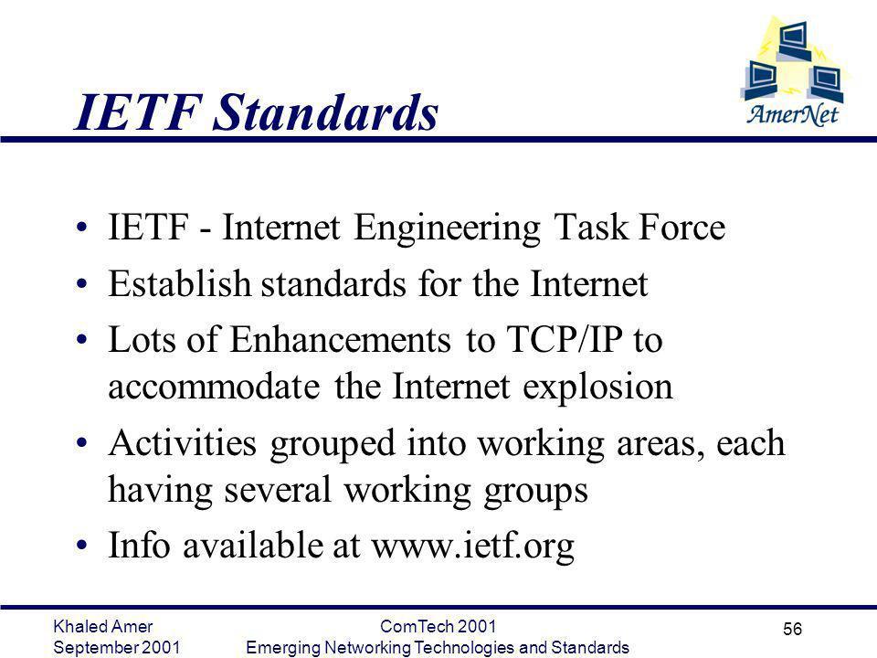 Khaled Amer September 2001 ComTech 2001 Emerging Networking Technologies and Standards 56 IETF Standards IETF - Internet Engineering Task Force Establ