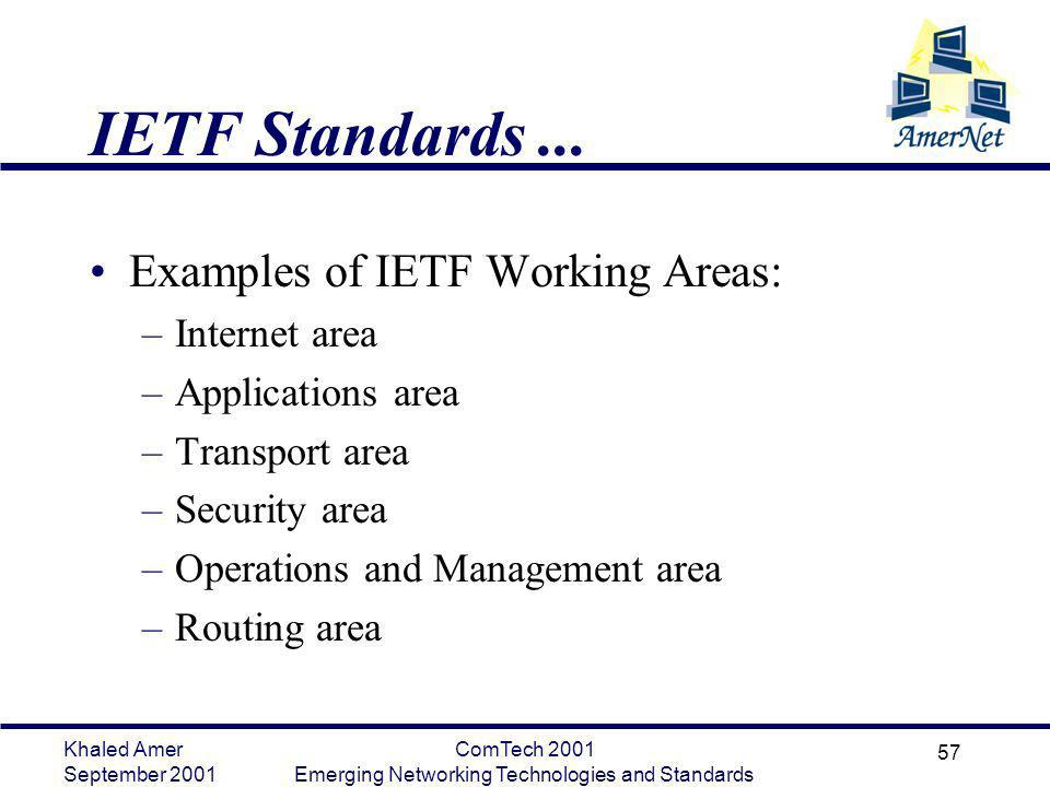 Khaled Amer September 2001 ComTech 2001 Emerging Networking Technologies and Standards 57 IETF Standards... Examples of IETF Working Areas: –Internet