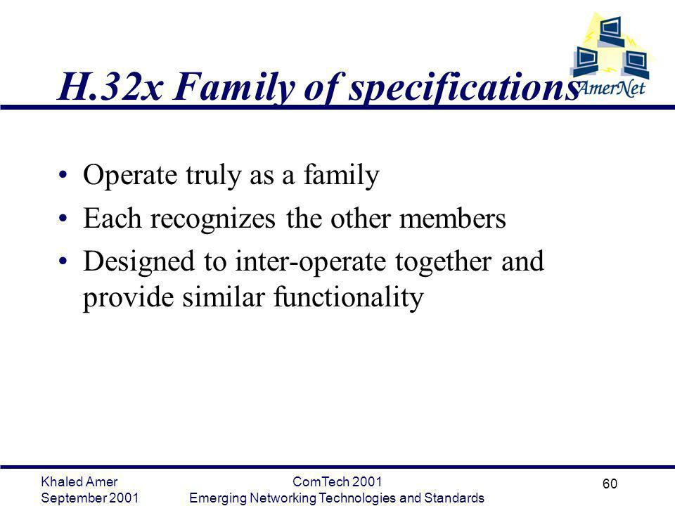 Khaled Amer September 2001 ComTech 2001 Emerging Networking Technologies and Standards 60 H.32x Family of specifications Operate truly as a family Eac