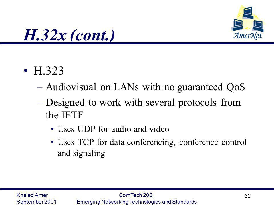 Khaled Amer September 2001 ComTech 2001 Emerging Networking Technologies and Standards 62 H.32x (cont.) H.323 –Audiovisual on LANs with no guaranteed