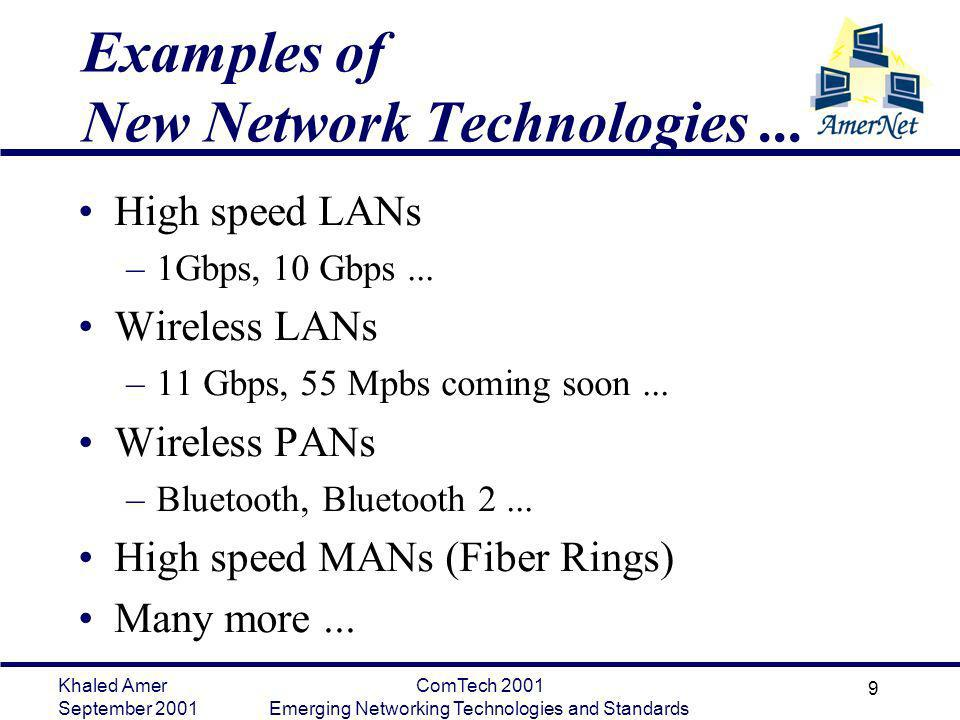 Khaled Amer September 2001 ComTech 2001 Emerging Networking Technologies and Standards 9 Examples of New Network Technologies... High speed LANs –1Gbp