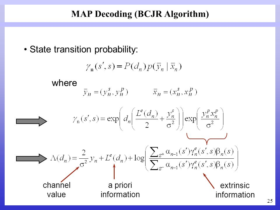 25 MAP Decoding (BCJR Algorithm) State transition probability: where channel value a priori information extrinsic information