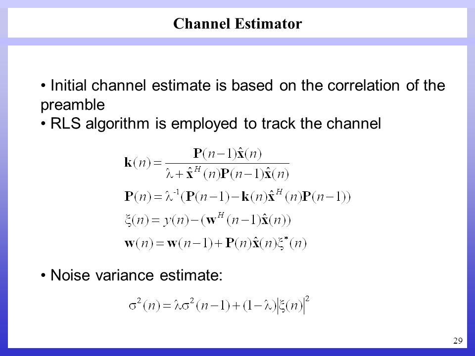 29 Channel Estimator Initial channel estimate is based on the correlation of the preamble RLS algorithm is employed to track the channel Noise varianc