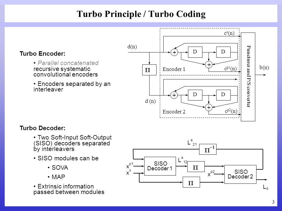 3 Turbo Principle / Turbo Coding Turbo Encoder: Parallel concatenated recursive systematic convolutional encoders Encoders separated by an interleaver