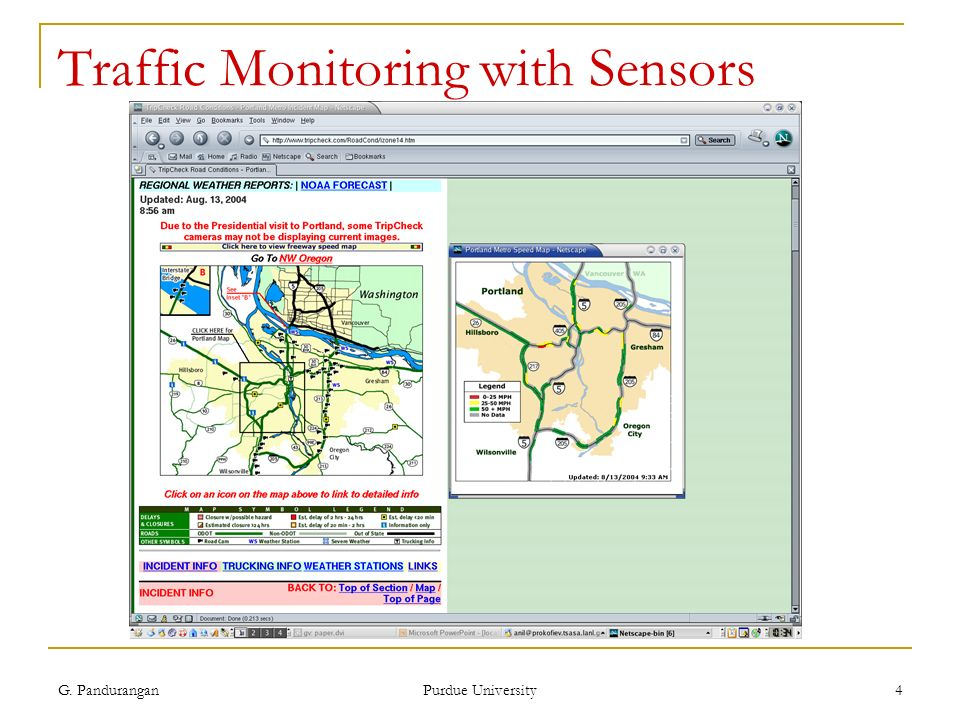 G. Pandurangan Purdue University 4 Traffic Monitoring with Sensors