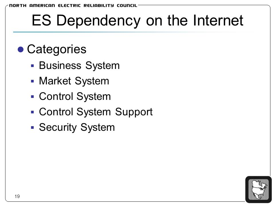19 ES Dependency on the Internet Categories Business System Market System Control System Control System Support Security System