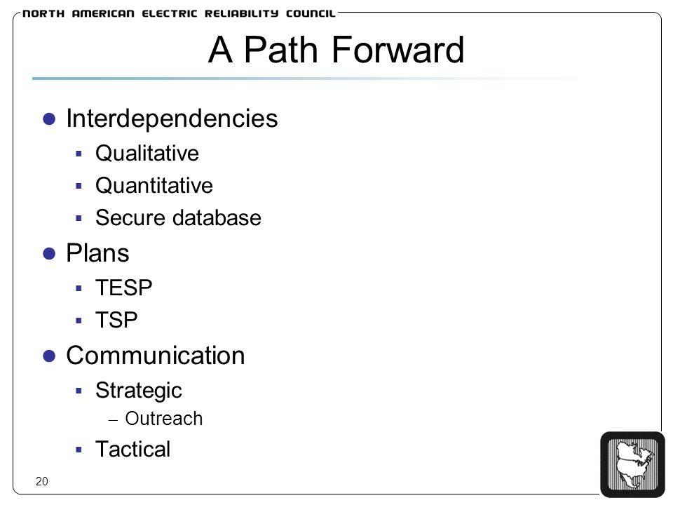 20 A Path Forward Interdependencies Qualitative Quantitative Secure database Plans TESP TSP Communication Strategic Outreach Tactical