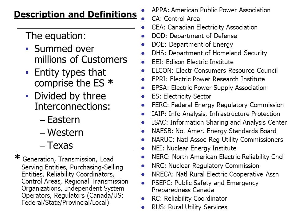 Description and Definitions The equation: Summed over millions of Customers Entity types that comprise the ES * Divided by three Interconnections: Eastern Western Texas * Generation, Transmission, Load Serving Entities, Purchasing-Selling Entities, Reliability Coordinators, Control Areas, Regional Transmission Organizations, Independent System Operators, Regulators (Canada/US: Federal/State/Provincial/Local) APPA: American Public Power Association CA: Control Area CEA: Canadian Electricity Association DOD: Department of Defense DOE: Department of Energy DHS: Department of Homeland Security EEI: Edison Electric Institute ELCON: Electr Consumers Resource Council EPRI: Electric Power Research Institute EPSA: Electric Power Supply Association ES: Electricity Sector FERC: Federal Energy Regulatory Commission IAIP: Info Analysis, Infrastructure Protection ISAC: Information Sharing and Analysis Center NAESB: No.