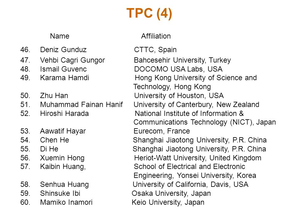 TPC (4) Name Affiliation 46.Deniz Gunduz CTTC, Spain 47.Vehbi Cagri Gungor Bahcesehir University, Turkey 48.Ismail Guvenc DOCOMO USA Labs, USA 49.Kara