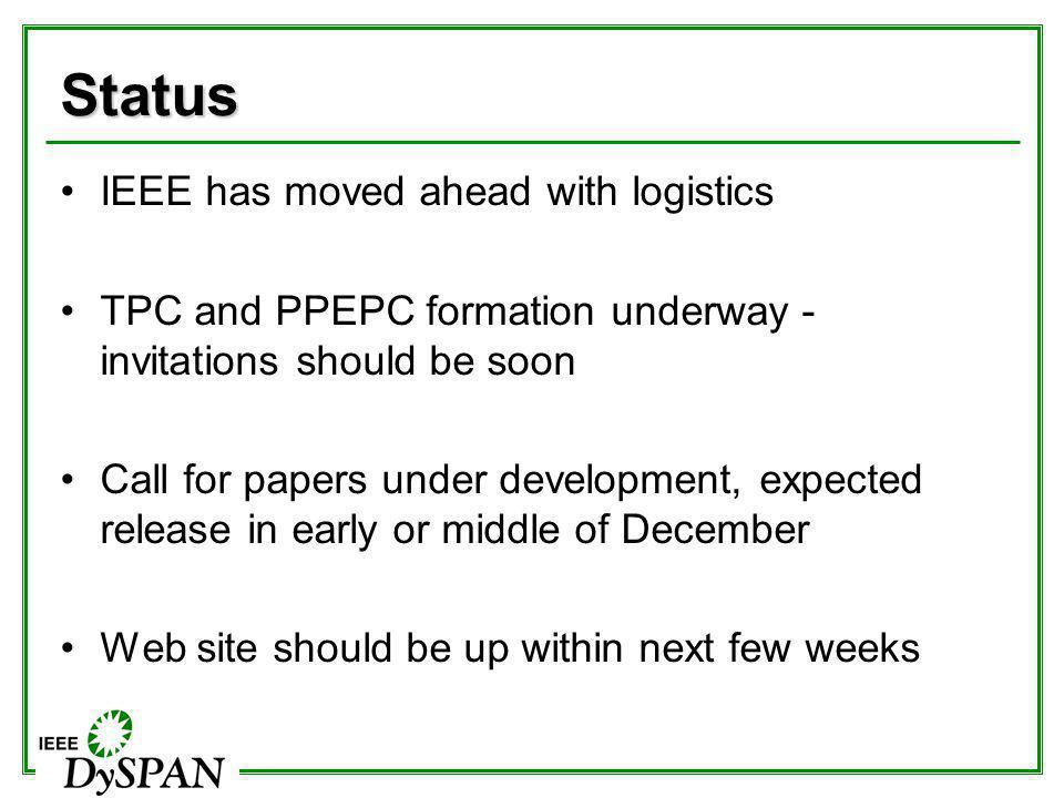 Status IEEE has moved ahead with logistics TPC and PPEPC formation underway - invitations should be soon Call for papers under development, expected r