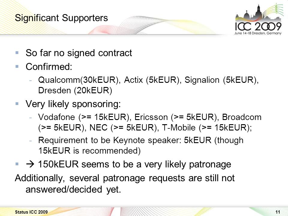 11 Status ICC 2009 Significant Supporters So far no signed contract Confirmed: -Qualcomm(30kEUR), Actix (5kEUR), Signalion (5kEUR), Dresden (20kEUR) Very likely sponsoring: -Vodafone (>= 15kEUR), Ericsson (>= 5kEUR), Broadcom (>= 5kEUR), NEC (>= 5kEUR), T-Mobile (>= 15kEUR); -Requirement to be Keynote speaker: 5kEUR (though 15kEUR is recommended) 150kEUR seems to be a very likely patronage Additionally, several patronage requests are still not answered/decided yet.