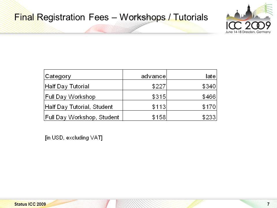 7 Status ICC 2009 Final Registration Fees – Workshops / Tutorials