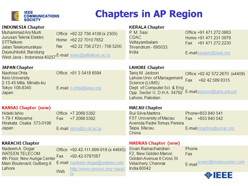 Chapters in AP Region INDONESIA Chapter Muhammad Ary Murti Jurusan Teknik Elektro STTTelkom Jalan Telekomunikasi Dayeuhkolot, Bandung West Java - Indonesia Office (x 2305) Home Fax / JAPAN Chapter Naohisa Ohta Keio University Mita, Minato-ku Tokyo Japan Office KANSAI Chapter (new) Hideki Ishio Kitayama Hirakata Osaka Japan Office Fax KARACHI Chapter Nadeem A.